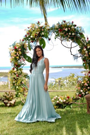 Vestido longo, saia plissada, decote v em tule, para casamento e madrinha de casamento