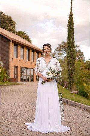 Vestido Marina, de noiva, longo, com mangas bufantes. Para casamento religioso.