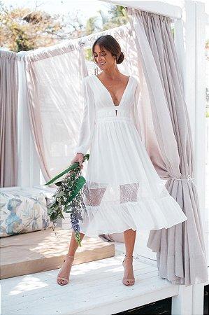 Vestido midi, manga longa, detalhes em renda, para casamento civil, batizado e noivado
