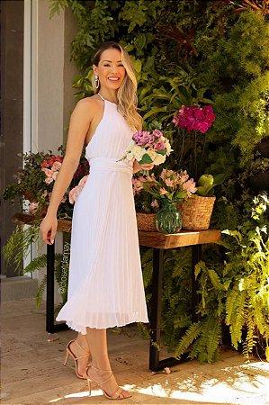 Vestido de noiva branco, com saia plissada, frente unica, para casamento civil e casamento intimista