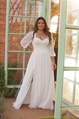 Vestido branco longo, manga longa, detalhes em renda, para casamento civil, batizado e noivado