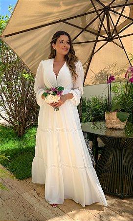 Vestido branco longo de crepe de seda, manga longa, detalhes em renda, para casamento civil, batizado e noivado