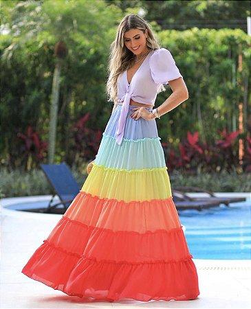 Conjunto cropped com saia multicolor candy color