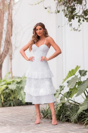 vestido branco de renda com crepe de seda, midi,  para casamento civil e casamento religioso
