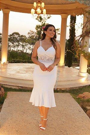 vestido de noiva longo de alça com renda entre meio no busto, longuete, off white, ideal para casamento religioso, civil e intimista.