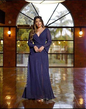 Vestido de festa, com decote em V, longo, manga longa, para madrinha de casamento