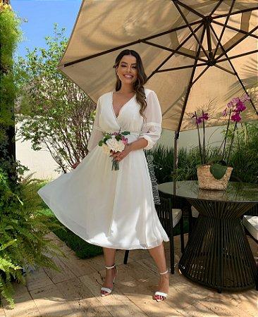vestido de noiva, decote em V com rendas de manga, off white, ideal para casamento intimista, casamento religioso