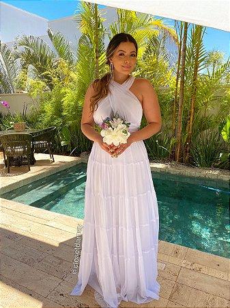 Vestido de noiva longo com tule, trançado no busto. Ideal para casamento no religioso, casamento civil.