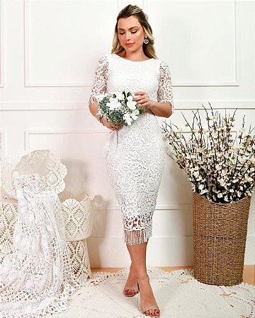 vestido branco midi de renda para casamento civil ou religioso