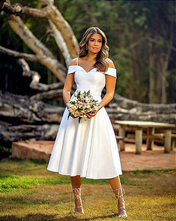 vestido de noiva ombro a ombro, de alça e faixa na cintura, ideal para casamento civil, casamento religioso