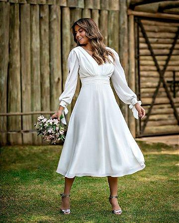 vestido de noiva lady like de manga longa, com detalhes na cintura, ideal para casamento civil, casamento intimista