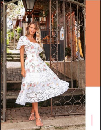 Vestido midi chifon, estampa floral com mangas e babado, com amarração nas costas