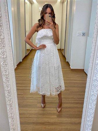 Vestido midi lady like, tomara que caia em babados , ideal para seu casamento civil e jantar de noivado