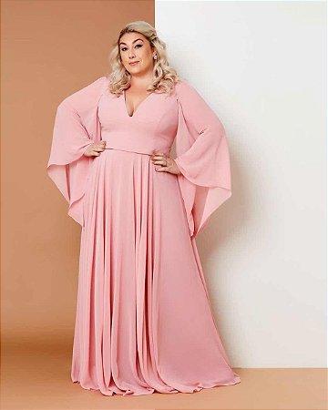 Vestido de festa longo Plus Size, saia ampla e manga longa, ideal para madrinhas de casamento