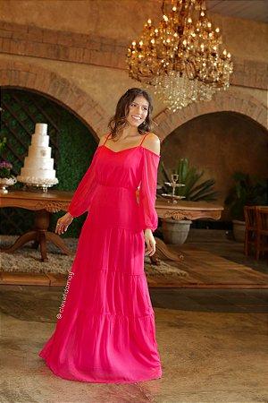 Vestido longo em crepe de seda, saia em camadas e com faixa  removível