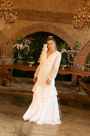 Vestido longo de festa em renda e chiffon, manga longa e decote, para madrinhas de casamento