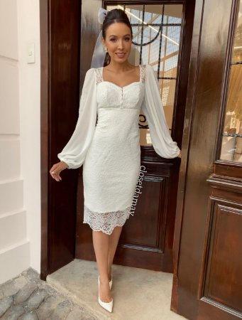 Vestido Ariel de noiva midi com renda e manga longa