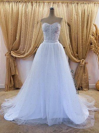 Vestido Carla de noiva com corset e saia de tule bordado