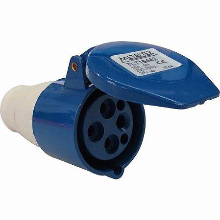 Plug Femea 32A 3P+E 9H Azul Metaltex