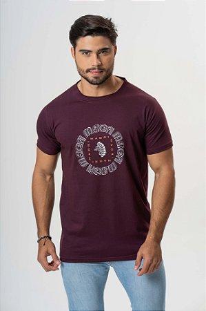 Camiseta Vinho Maori Estampada
