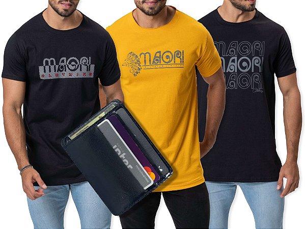 Kit 3 Camisetas GRÁTIS 1 Carteira Compact