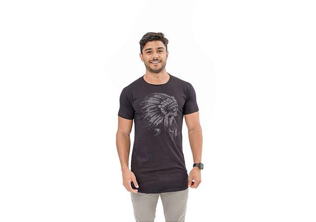 Camiseta Slim Masculina Índio Maori Preta