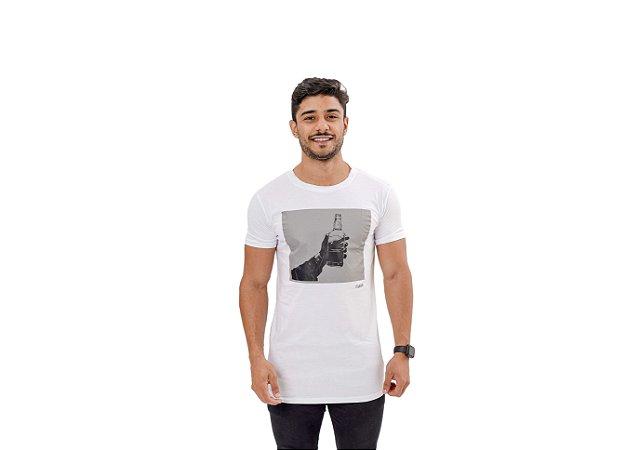 Camiseta Slim Masculina Whisky Maori Branca