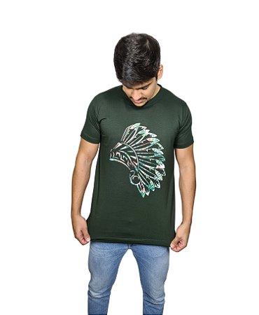 Camiseta Verde Maori Cocar Floral
