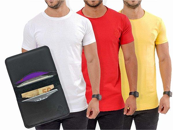 Kit 3 Camisetas Casuais + Carteira Duo
