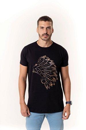 Camiseta Preta Maori Cocar Café