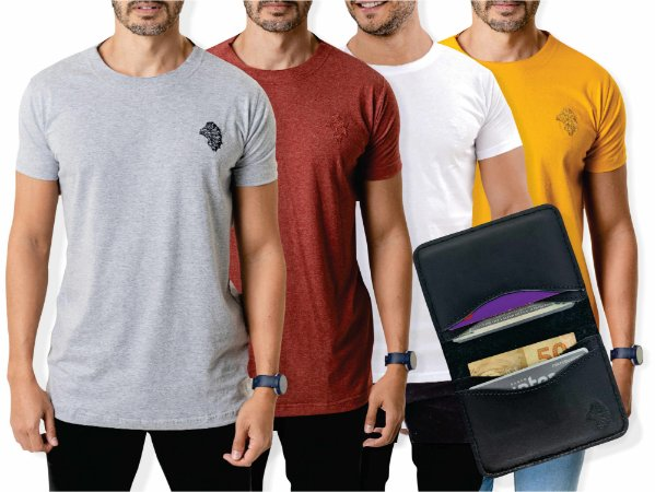 Kit 4 Camisetas Casuais + Carteira Duo