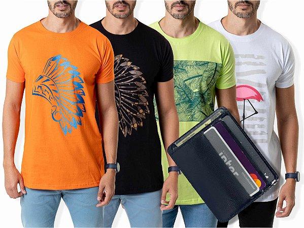 Kit 4 Camisetas Estampadas + Carteira Compact Preta