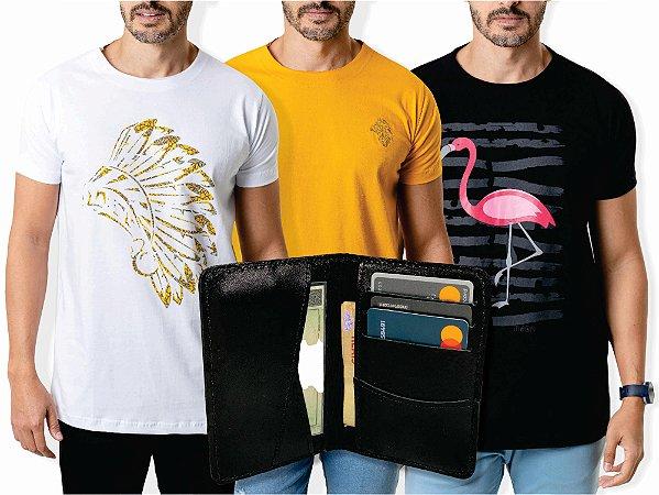 Kit 3 Camisetas + Carteira Slim Preta