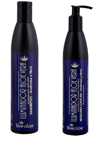 COMBO - Shampoo Iluminador + Máscara Capilar Iluminadora Aloe Vera Desamareladora Livealoe - 300ml