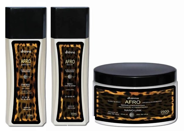COMBO Dhonna Completo - Dhonna - Shampoo Afro Gentle Poo - L-POO - 300ml + Leave In Afro Cachos Soltos (3C, 4A,4B e 4C) - 300ml + Máscara No Poo Afro Nano Link - 250g