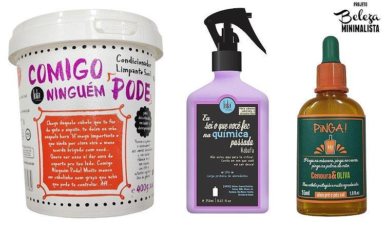 COMBO Beleza Minimalista - Comigo Ninguém Pode 400g + Spray CPA 250ml + Pinga Cenoura e Oliva 60ml