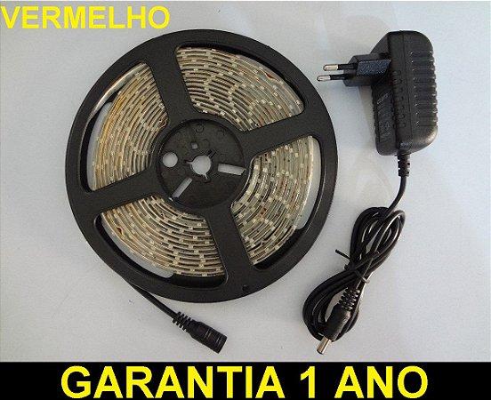 Fita Led Vermelho 3528 12v Rolo 5 Metros Ip65 + Fonte 3a