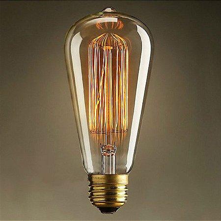 Lâmpada Filamento de Carbono 40w 220v E27 ST64 Retrô