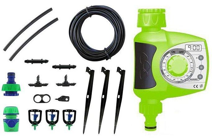 Kit Microaspersor de Irrigação Triangular com Temporizador Eletrônico Digital