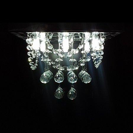Lustre de Cristal quadrado 30x30cm com alças + Lâmpada Led