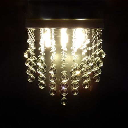 Lustre de Cristal quadrado pirâmide 30x30cm + Lâmpada Led