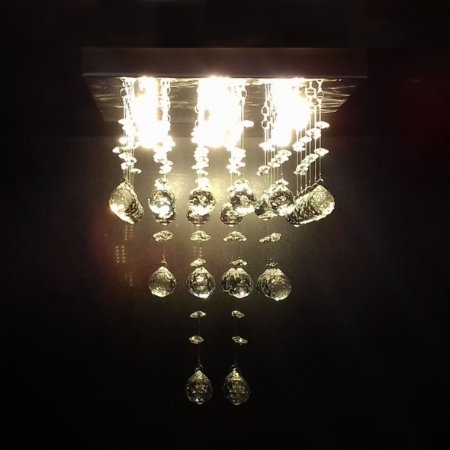 Lustre de Cristal quadrado três cubos 30x30cm + Lâmpada Led