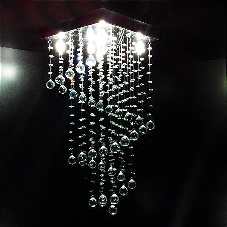 Lustre de Cristal quadrado caracol 30x30cm + Lâmpada Led