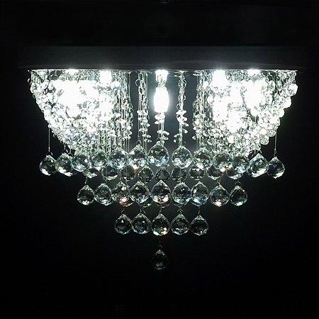 Lustre de Cristal quadrado com alças cantos 40x40cm + Lâmpada Led
