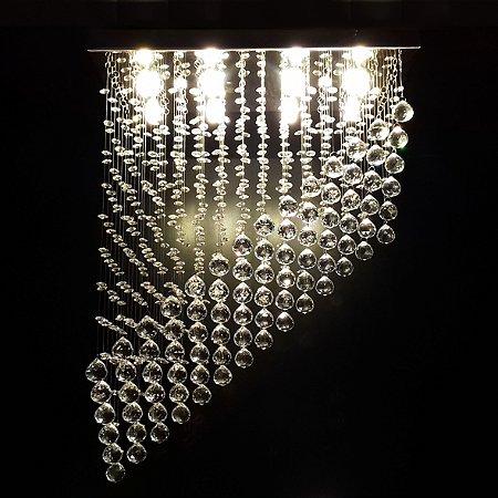 Lustre de Cristal retangular diagonal em queda 50x25cm + Lâmpada Led