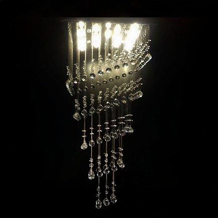 Lustre de Cristal quadrado cubo em queda 50x50cm + Lâmpada Led