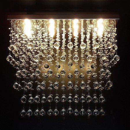 Lustre de Cristal retangular aleatório 65x20cm + Lâmpada Led