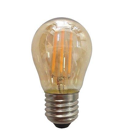 Lâmpada Led Bulbo E27 G45 4w Branco Quente Filamento Âmbar 110-220v