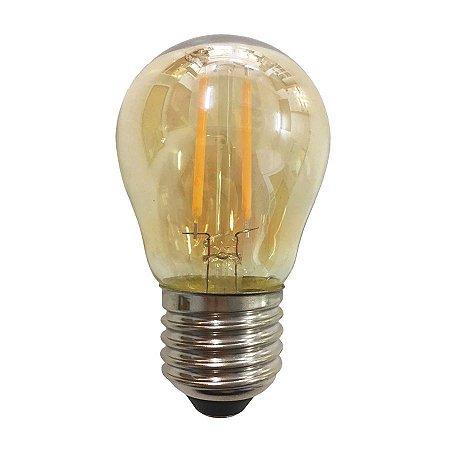 Lâmpada Led Bulbo E27 G45 2w Branco Quente Filamento Âmbar 110-220V