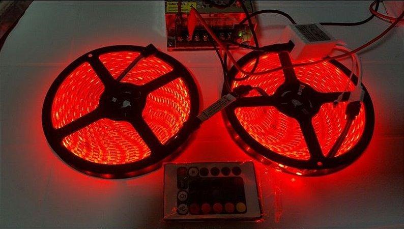 Fita Led Rgb 3528 10m Com Fonte 10a + Amplificador + P4